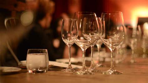 Fancy Dinner Table Set For Romantic Dinner Stock Footage