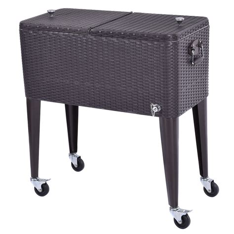 wicker rolling cooler portable chest cart 80qt