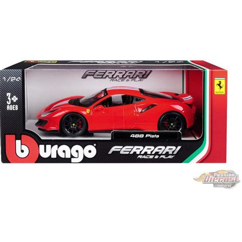 Ships from and sold by karson diecast co. Ferrari 488 Pista avec bande blanche et bleue - Bburago 1:24 - 18-26026 - RD - Passion Diecast
