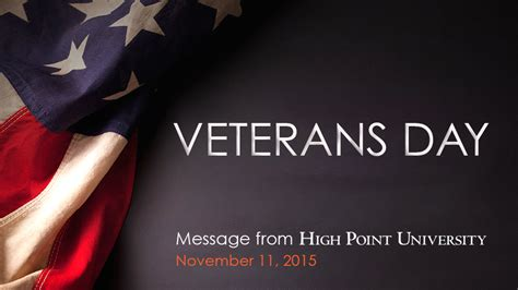 veterans day message  high point university high