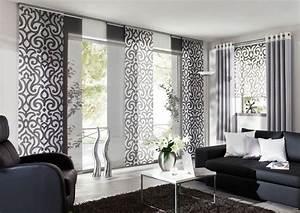 Ideen Für Schiebevorhänge : eichenhaus gleitpaneele vorhang wei grau ornamente ~ Watch28wear.com Haus und Dekorationen