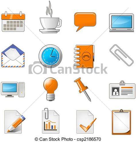 icone bureau illustration de toile ensemble bureau page thème ou