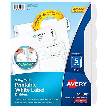 avery big tab printable label dividers easy peel