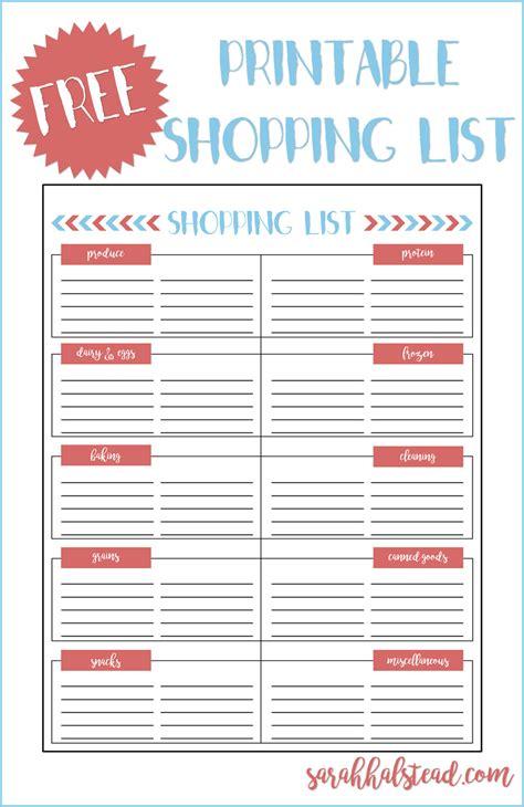 Shopping List Printable   Sarah Halstead