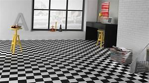 sol vinyle imitation carrelage damier noir et blanc With parquet mosaïque damier