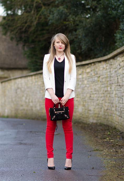 Red Rebecca Minkoff Skinny Jeans With Black u0026 White   Raindrops of Sapphire