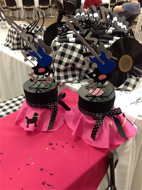 sock hop centerpieces party ideas   sock