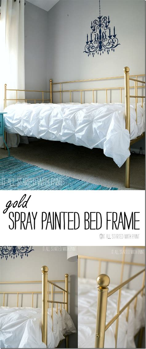 gold bed frame created  spray paint