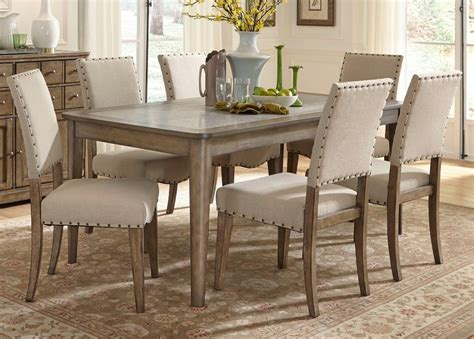 Rectangle Leg Dining Table With Solids Poplar Weathered
