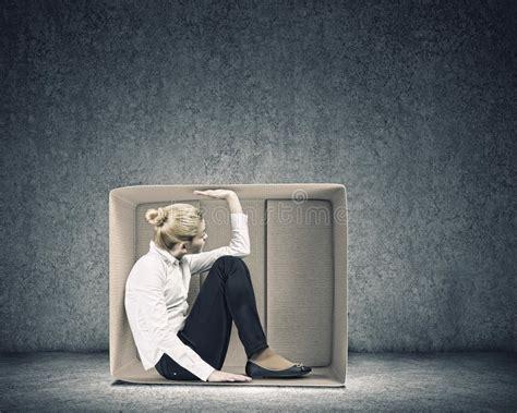 Girl In Box Stock Image. Image Of Wall, Awkward, Freedom