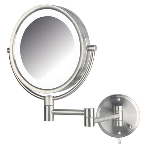 wall mounted lighted makeup mirror jerdon hl88nl 8 5 inch led lighted wall mount