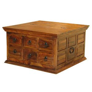 Espresso large rectangle wood coffee table with drawers. Solid Sheesham Wood 6 Drawer Square Coffee Table Trunk Storage Unit | eBay