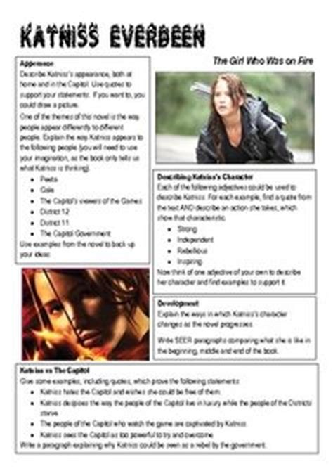 make a hunger character classroom ideas on pinterest worksheets the hunger game and katniss everdeen
