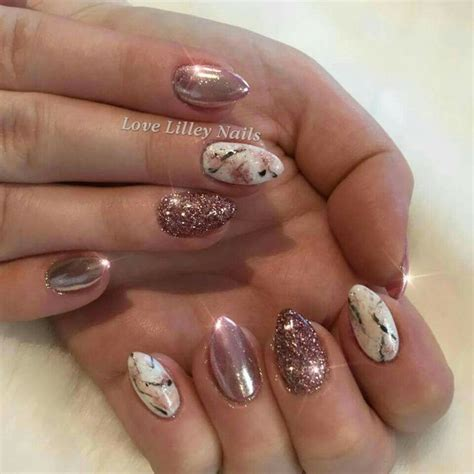 rose gold chrome glitter  marble effect nails
