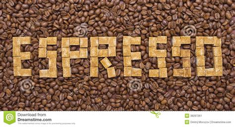 The Form Of Espresso by Composition Of Sugar And Coffee Beans In The Form Of
