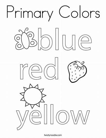 Primary Colors Coloring Pages Worksheets Twistynoodle Noodle