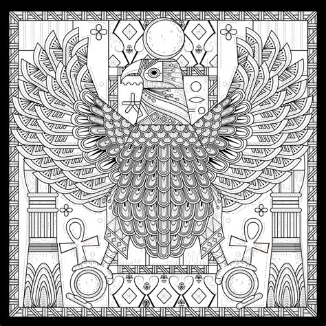 egypt eagle egyptian style  symbols egypt adult coloring pages