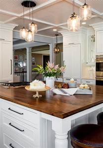 Glass Pendant Lighting Over Kitchen Island