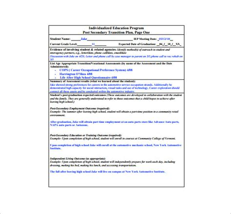 transition plan examples 11 transition plan templates free sample example