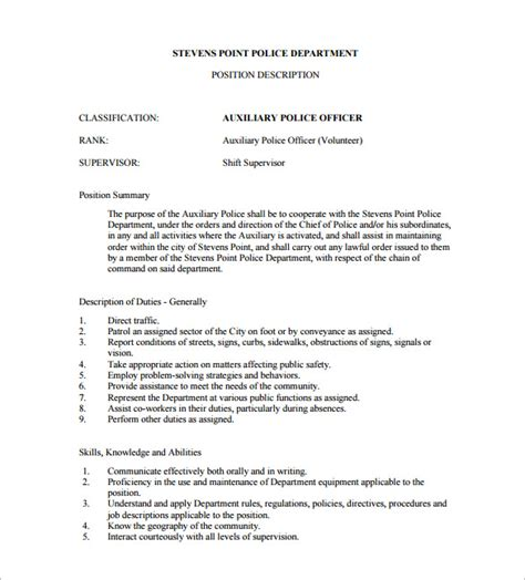 Officer Description Template Officer Description For Resume