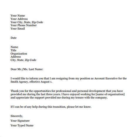 resignation letter format    documents