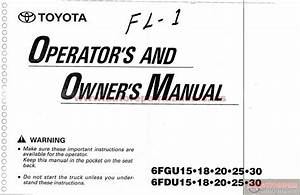 Toyota Forklift 6fgu15 Operators And Owners Manual