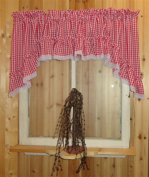 country cottage gingham ruffled swag valance curtain