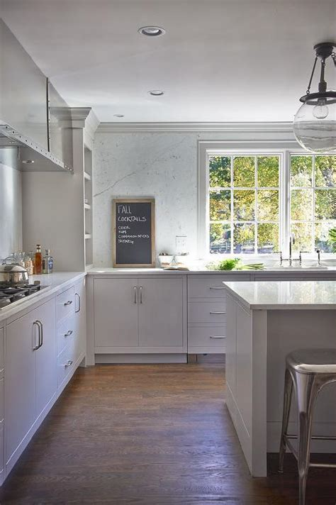 Gray KItchen Island with Backless Metal Industrial Stools