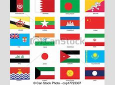 Vector Clipart of Asian Flags Vector Illustration of the