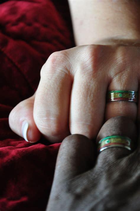 rasta titanium rings one coral and wedding