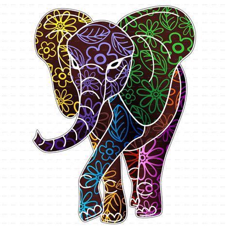 elephant floral batik art design  bluedarkat graphicriver