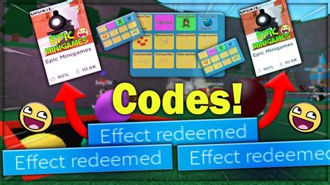 working epic minigames codes roblox youtube