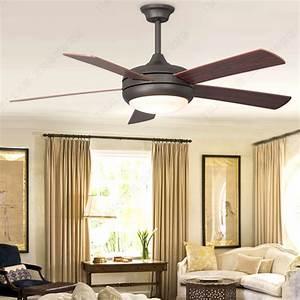 Simple european wood blade ceiling fan light