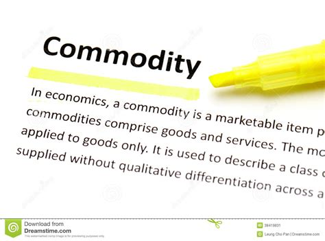 Definition Of Commodity Stock Image Cartoondealercom