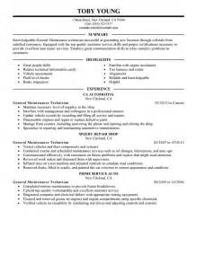 maintenance skills resume general maintenance technician resume exle automotive