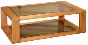 Table basse 100x60 plateau en verre et bois massif moderne aspect contemporai