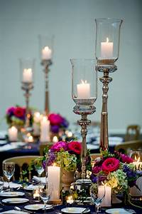Tall, Candles, With, Fuchsia, Centerpieces
