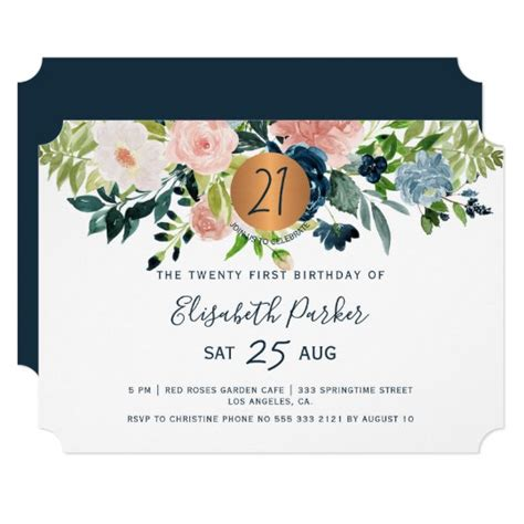 21st modern navy floral watercolor birthday party