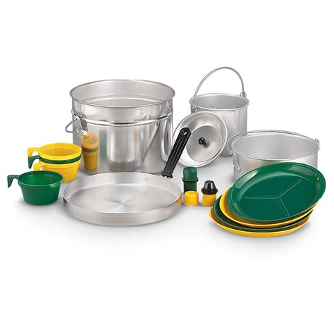 camping cook aluminum cookware stansport pc camp utensils kitchen