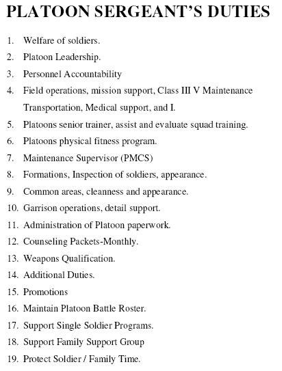 army leaders book template 2017 platoon sergeant duties armystudyguide