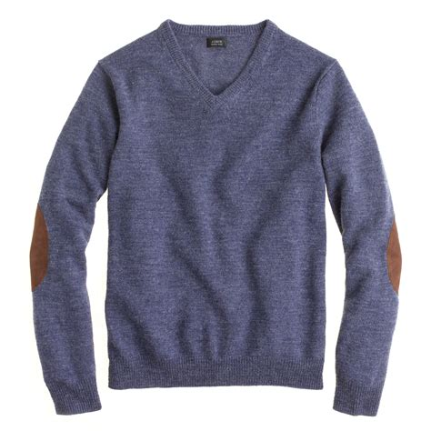 mens patch sweater j crew rustic merino v neck patch sweater in blue