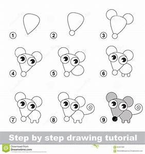 Drawing Tutorial. How To Draw A Little Mouse Stock Vector ...
