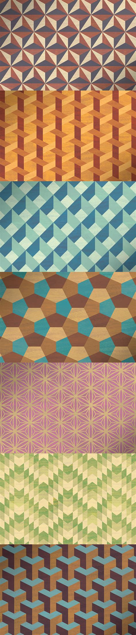 geometric marquetry patterns  retro seamless patterns