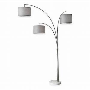 buy adesso bowery 3 arm arc floor lamp in antique brass With 3 arm floor lamp shade