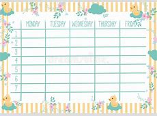 Cute Weekly Planner stock vector Illustration of plan