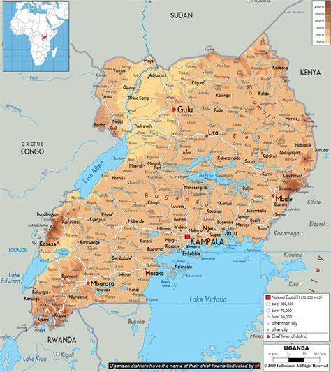 physical map  uganda ezilon maps