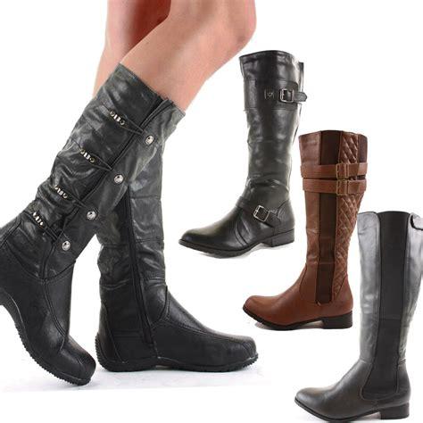 ladies womens wide calf fit black flat stretch knee high