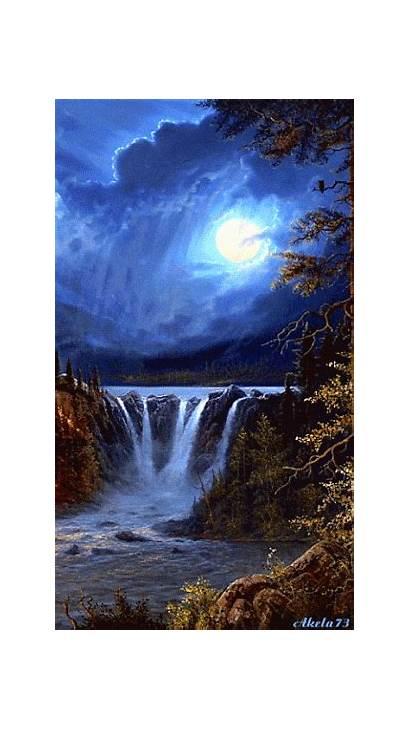 Waterfall Animated Moon Nature Perfect Peaceful Night