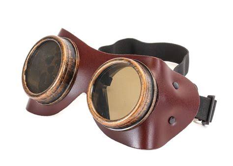 Brown Leather Goggles Steampunk Black Motorcycle Flying
