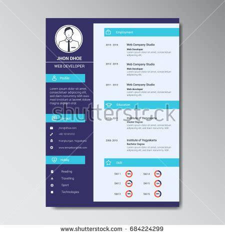 Curriculum Vitae Design Template by Unique Flat Color Curriculum Vitae Design Stock Vector